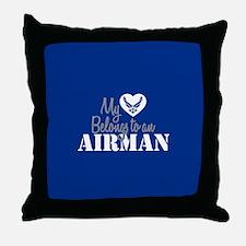 My Heart Belongs to an Airman Throw Pillow