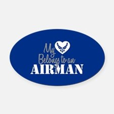 My Heart Belongs to an Airman Oval Car Magnet
