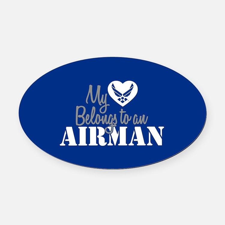 My Heart Belongs to an Airman Oval Car Magnet
