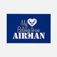 My Heart Belongs to an Airman Rectangle Magnet
