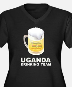Uganda Drinking Team Women's Plus Size V-Neck Dark