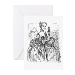 Madame Pompadour with rose Greeting Cards (Pk of 2