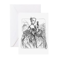 Madame Pompadour with rose Greeting Card