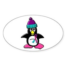 Winter Penguin 1 (Thyroid) Oval Decal