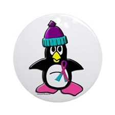Winter Penguin 1 (Thyroid) Ornament (Round)