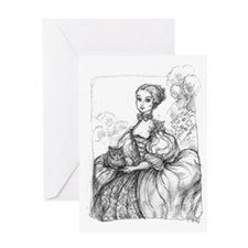 Madame Pompadour with cat Greeting Card