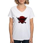 Red and Black Graphic Skull Women's V-Neck T-Shirt