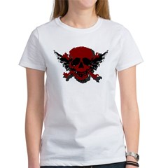 Red and Black Graphic Skull Women's T-Shirt