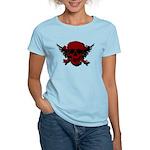 Red and Black Graphic Skull Women's Light T-Shirt