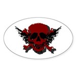 Red and Black Graphic Skull Oval Sticker (10 pk)