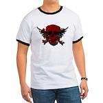Red and Black Graphic Skull Ringer T