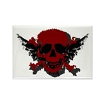 Red and Black Graphic Skull Rectangle Magnet (10 p