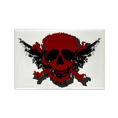 Red and Black Graphic Skull Rectangle Magnet