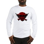 Red and Black Graphic Skull Long Sleeve T-Shirt