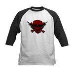 Red and Black Graphic Skull Kids Baseball Jersey