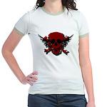 Red and Black Graphic Skull Jr. Ringer T-Shirt