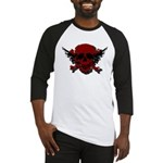 Red and Black Graphic Skull Baseball Jersey