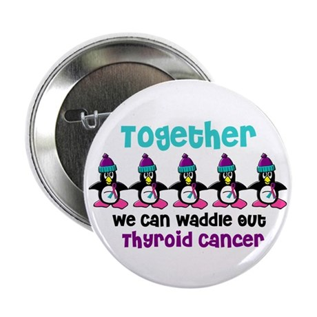 "Winter Penguin 4 (Thyroid Cancer) 2.25"" Button (10"