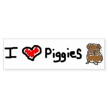 I Love Piggies Bumper Sticker