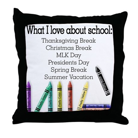 Things I Love About School! Throw Pillow