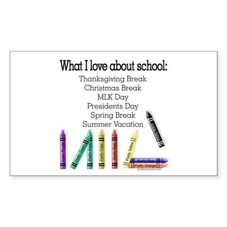 Things I Love About School! Rectangle Sticker