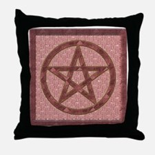 Wiccan Pentagram Rose Pink Crystal Throw Pillow