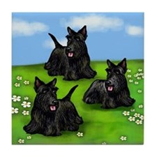 SCOTTISH TERRIER DOGS PARK Tile Coaster