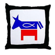 Christian Fish Democratic Donkey Throw Pillow