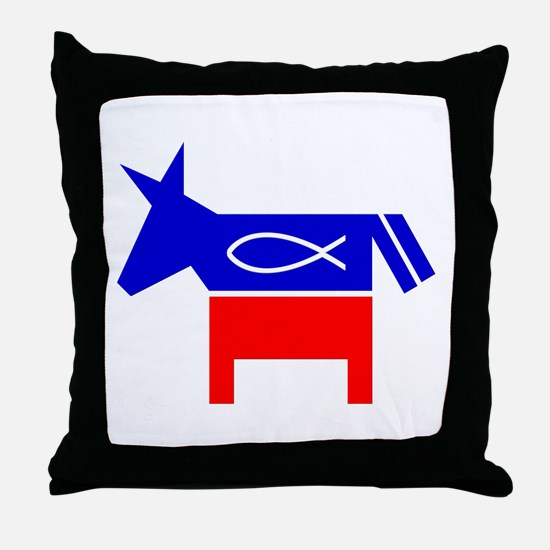 Christian Fish Democratic Donkey Throw Pillow