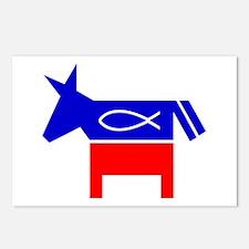 Christian Fish Democratic Donkey Postcards 8 pk