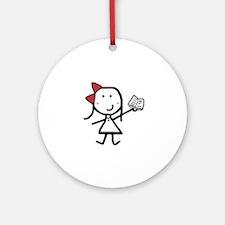 Girl & Book Ornament (Round)