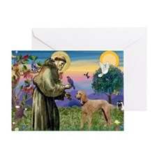 St Francis / Std Poodle(a) Greeting Card