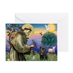 St Francis / Pug Greeting Card