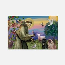 Saint Francis & Two Pugs Rectangle Magnet