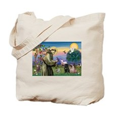 Saint Francis & Two Pugs Tote Bag