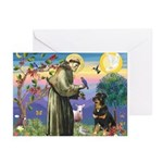 St Francis / Rottweiler Greeting Cards (Pk of 10)