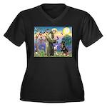 St Francis / Rottweiler Women's Plus Size V-Neck D