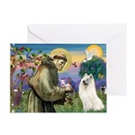 St Francis & Samoyed Greeting Card