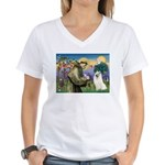 St Francis & Samoyed Women's V-Neck T-Shirt