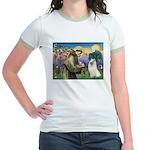 St Francis & Samoyed Jr. Ringer T-Shirt