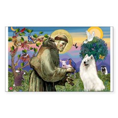 St Francis & Samoyed Rectangle Decal