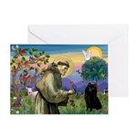 St Francis / Schipperke Greeting Card