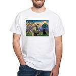 St Francis / Schipperke White T-Shirt