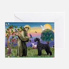 St. Francis & Giant Schnauzer Greeting Card