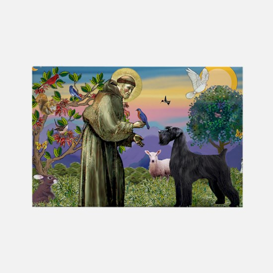 St. Francis & Giant Schnauzer Rectangle Magnet