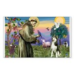 St Francis & Husky Rectangle Sticker
