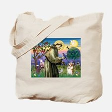 St Francis /Welsh Corgi (p) Tote Bag