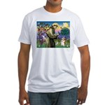 St Francis /Welsh Corgi (p) Fitted T-Shirt
