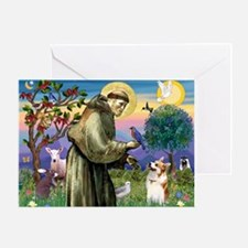 St Francis /Welsh Corgi (p) Greeting Card