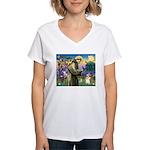 St Francis /Welsh Corgi (p) Women's V-Neck T-Shirt